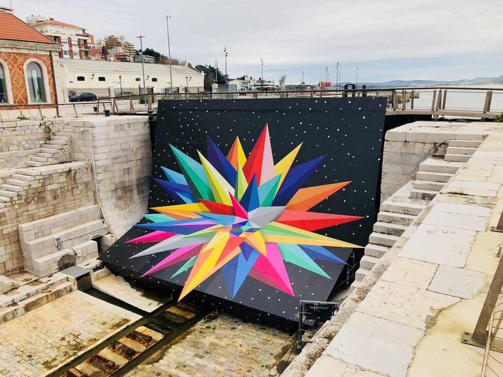 Obra efímera en el dique de Gamazo en Santander